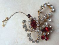 Vintage Layered Floral Spray Brooch With Safety Chain.